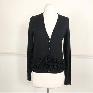 J.Crew Black Wool ruffled cardigan sweater Medium